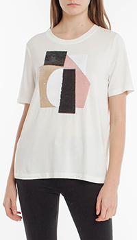 Белая футболка Laurel с пайеточным украшением, фото