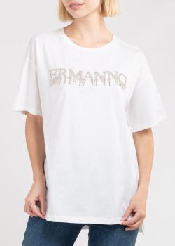 Футболка белого цвета Ermanno Ermanno Scervino с принтом, фото