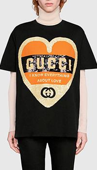 Черная футболка Gucci с пайетками, фото