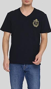 Темно-синяя футболка Billionaire с логотипом, фото