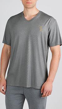 Серая футболка Billionaire с золотистым лого, фото
