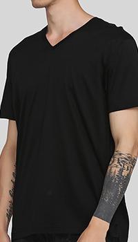 Черная футболка Billionaire с вышивкой на спине, фото
