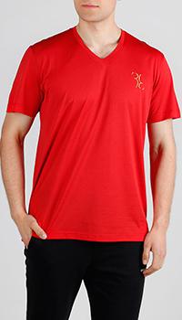 Красная футболка Billionaire с V-вырезом, фото
