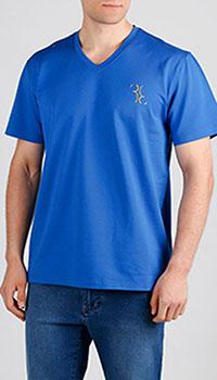 Синяя футболка Billionaire с лого, фото