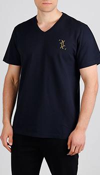 Темно-синяя футболка Billionaire с лого, фото