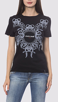 Черная футболка Roberto Cavalli с абстракцией, фото