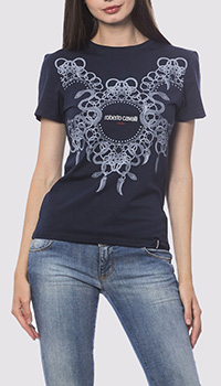 Хлопковая футболка Roberto Cavalli темно-синего цвета, фото