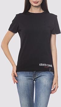 Черная футболка Roberto Cavalli с принтом на спине, фото