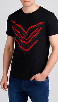 Черная футболка Roberto Cavalli с красным принтом, фото