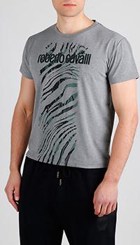 Серая футболка Roberto Cavalli с принтом, фото