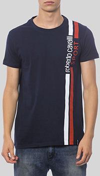 Синяя футболка Roberto Cavalli с брендовой надписью, фото