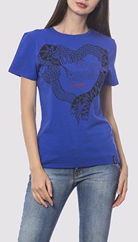 Синяя футболка Roberto Cavalli с изображением, фото