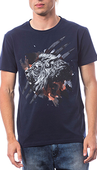 Синяя футболка Roberto Cavalli с рисунком льва, фото
