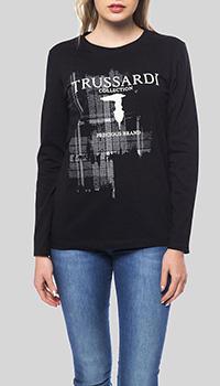 Черный лонгслив Trussardi Collection с принтом-логотипом, фото