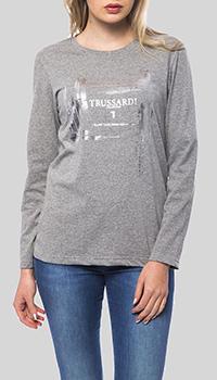 Серая футболка Trussardi Collection с длинным рукавом, фото