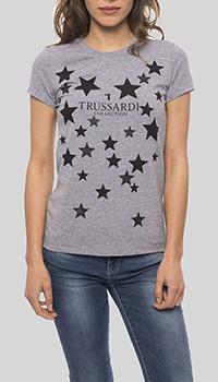 Серая футболка Trussardi Collection с принтом-звезды, фото