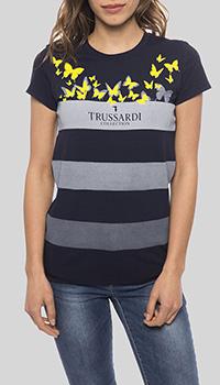 Темно-синяя футболка Trussardi Collection в полоску, фото