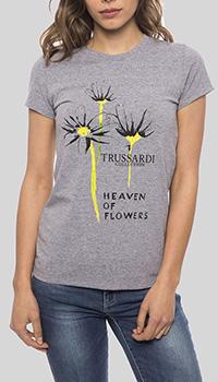 Серая футболка Trussardi Collection с рисунком, фото