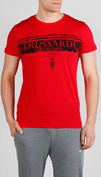 Футболка красная Trussardi Jeans с принтом, фото