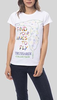 Белая футболка Trussardi Collection с принтом-лого, фото