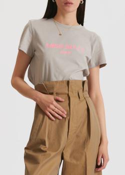 Серая футболка Miss Sixty с брендовой надписью, фото