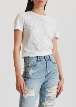 Белая футболква Miss Sixty с логотипом из страз, фото