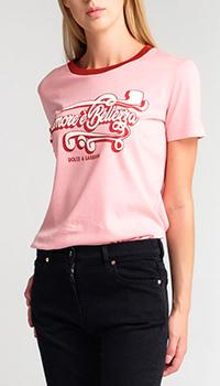 Розовая футболка Dolce&Gabbana с принтом, фото
