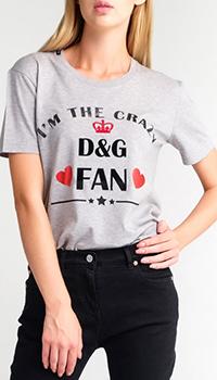 Серая футболка Dolce&Gabbana с логотипом, фото