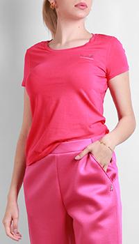 Розовая футболка Ea7 Emporio Armani со стразами, фото