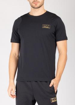 Однотонная футболка Ea7 Emporio Armani темно-синего цвета, фото