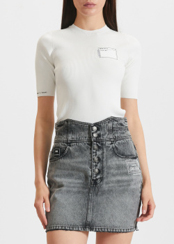Белая футболка Miss Sixty в рубчик, фото