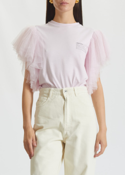 Розовая футболка Miss Sixty с фатиновыми рукавами, фото