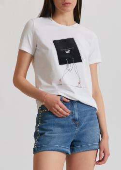 Белая футболка Elisabetta Franchi с фирменным принтом, фото
