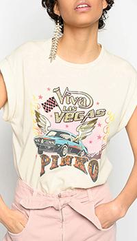 Бежевая футболка Pinko с принтом, фото