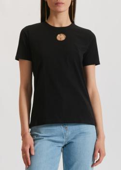 Черная футболка Elisabetta Franchi с металлическим декором, фото