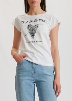 Белая футболка Red Valentino с принтом в виде сердца, фото