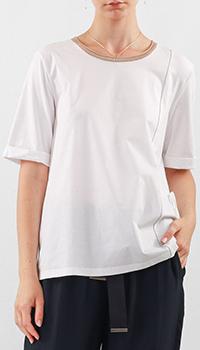 Белая футболка Peserico с контрастным кантом, фото
