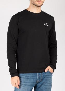 Черный лонгслив Ea7 Emporio Armani с лого, фото