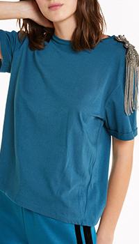 Синяя футболка Patrizia Pepe с декором, фото