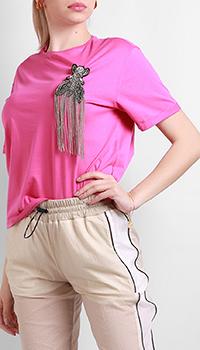 Розовая футболка Patrizia Pepe с декором, фото