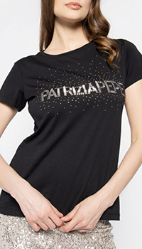 Черная футболка Patrizia Pepe с декором-стразами, фото