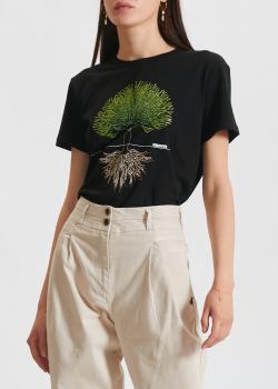 Черная футболка Patrizia Pepe с вышивкой в виде дерева, фото