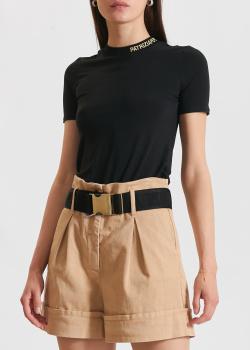 Черная футболка Patrizia Pepe с фирменной вышивкой, фото