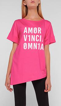 Ассиметричная футболка Liu Jo розового цвета, фото