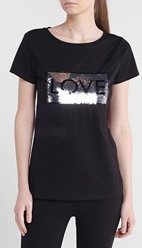 Черная футболка Liu Jo с пайетками, фото