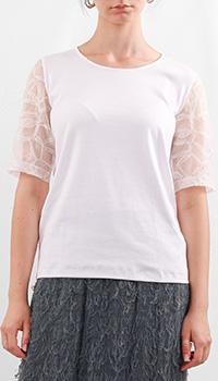 Белая футболка Fabiana Filippi с фатиновыми рукавами, фото