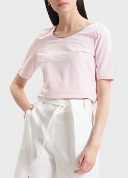 Розовая футболка Sportalm с контрастной горловиной, фото