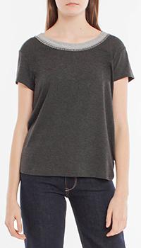 Темно-серая футболка Riani с вязаной вставкой на горловине, фото
