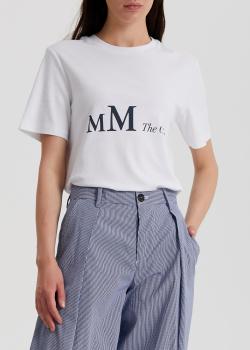 Хлопковая футболка S Max Mara Saletta с черным принтом, фото