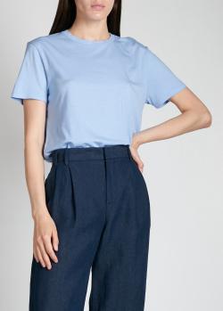Хлопковая футболка Aspesi голубого цвета, фото